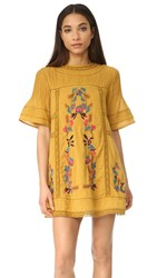 Free People Perfectly Victorian Embroidered Mini Dress Amber Glow