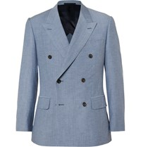 Kingsman Blue Harry Slim Fit Wool And Cotton Blend Chambray Blazer Blue