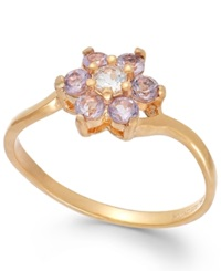 Victoria Townsend 18K Rose Gold Over Sterling Silver Pink Amethyst 1 4 Ct. Tw. And White Topaz 1 10 Ct. Tw. Flower Ring