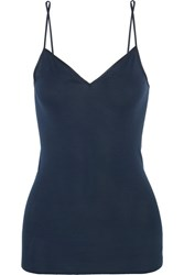 Hanro Satin Trimmed Mercerized Cotton Camisole Navy