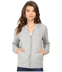 Converse Core Full Zip Fleece Hoodie Vintage Grey Heather Women's Sweatshirt Gray