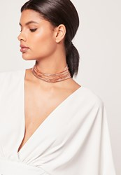 Missguided Layered Multi Chain Choker Necklace Rose Gold Pink