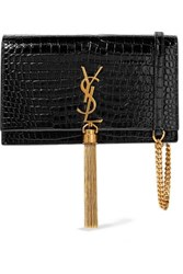Saint Laurent Kate Small Croc Effect Patent Leather Shoulder Bag Black