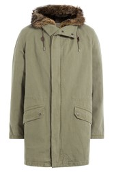Yves Salomon Cotton Parka With Fur Lining Green