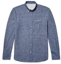 Officine Generale Button Down Collar Selvedge Cotton Chambray Shirt Light Blue