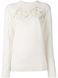 Blumarine Lace Panel Pullover White