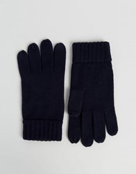 Polo Ralph Lauren Touch Gloves In Merino Wool Navy