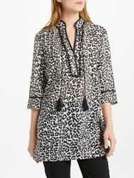Oui Leopard Print Tunic Dress Off White Grey