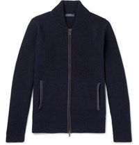 Thom Sweeney Slim Fit Cashmere And Wool Blend Zip Up Cardigan Navy