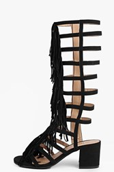 Boohoo Fringe Knee High Block Heel Sandal Black