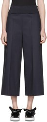 Cedric Charlier Navy Wide Leg Trousers