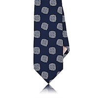 Fairfax Men's Medallion Pattern Satin Necktie Navy