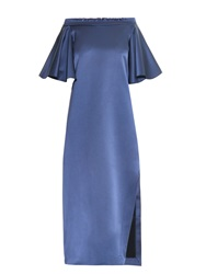 Ellery Maddox Off The Shoulder Silk Satin Dress