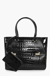 Boohoo Isabel Mock Croc Patent Tote With Coin Purse Black
