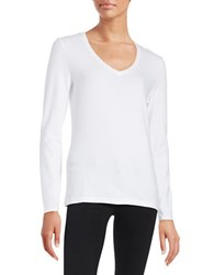 Lord And Taylor V Neck Tee White