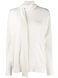 Pinko Neck Tie Knitted Sweater White