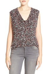 Petite Women's Halogen Cowl Neck Sleeveless Top Black Pink Buds Print
