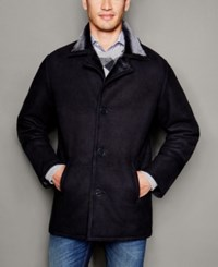 The Fur Vault Mens Shearling Lamb Notch Collar Coat Black Brissa