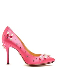 Charlotte Olympia Bacall Crystal Embellished Stiletto Pumps Pink