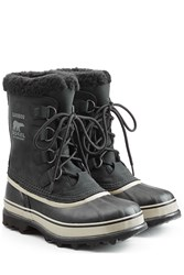 Sorel Caribou Suede And Rubber Short Boots Black