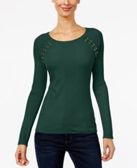 Inc International Concepts Lace Up Sweater Only At Macy's Hunter Forest