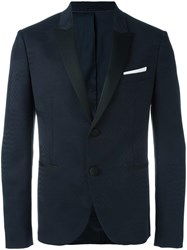 Neil Barrett Tonal Pattern Blazer Blue