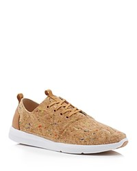 Toms Del Rey Cork Paint Splatter Lace Up Sneakers Tan Multi Color Paint Splatter