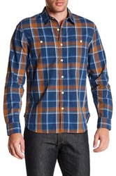 Lucky Brand Plaid Long Sleeve Regular Fit Workwear Shirt Blue