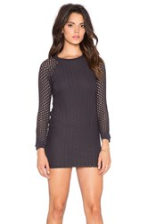 Monrow Crochet Long Sleeve Dress Black