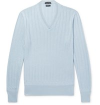 Tom Ford Cashmere And Silk Blend Sweater Light Blue