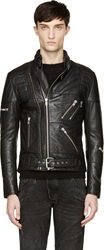 Surface To Air Black Leather Double Zip Takashi Biker Jacket