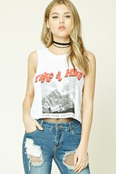 Forever 21 Take A Hike Graphic Muscle Tee White Red
