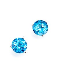 Bloomingdale's Blue Topaz Stud Earrings In 14K White Gold Blue White