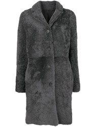 Giorgio Brato Reversible Shearling Coat Grey