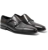 Berluti Cap Toe Polished Leather Monk Strap Shoes Black