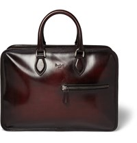 Berluti Un Jour Burnished Leather Briefcase Red