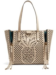 Chloe Milo Medium Perforated Leather Tote White