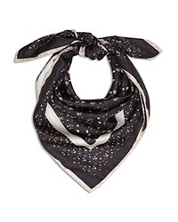 Reiss Poppy Floral Print Silk Scarf Black Multi