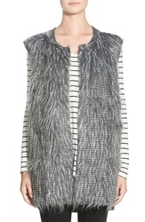 Paper Crane Faux Feather Vest Black