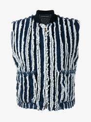Y Project Striped Denim Gilet Blue White Denim