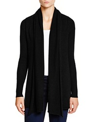 C By Bloomingdale's Cashmere Cardigan With Leather Elbow Patches Black Black