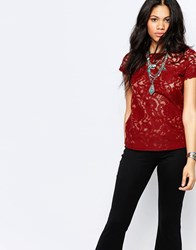 Glamorous Lace Short Sleeve Top Rust Red