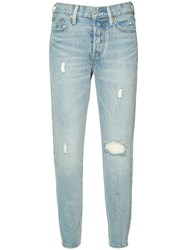 Levi's Ripped Cropped Skinny Jeans Blue
