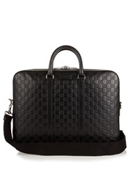 Gucci Gg Black Leather Briefcase