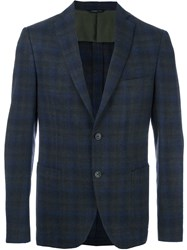Tonello Plaid Single Breasted Blazer Blue