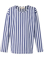Marni Striped Collarless Shirt Blue