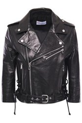 Red Valentino Redvalentino Woman Printed Leather Biker Jacket Black