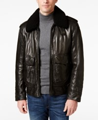 Andrew Marc New York Men's Anchorage Leather Aviator Jacket Black