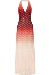 Missoni Metallic Ombre Crochet Knit Maxi Dress Red