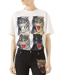 Gucci Tiger Face T Shirt White Pattern